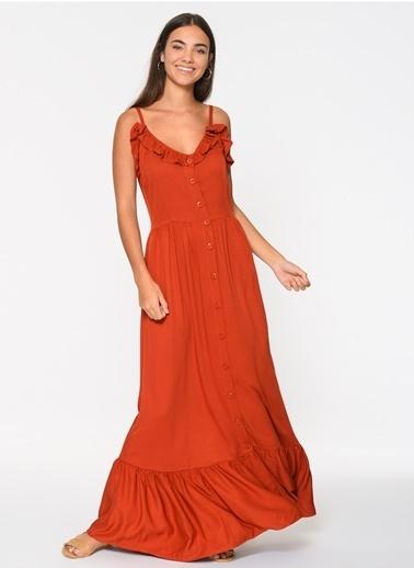 Loves You Eteği Volanlı Tensel Viskon Askılı Elbise Kiremit